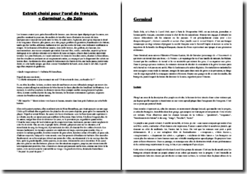 Zola, Germinal : lecture analytique
