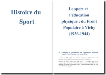 Le sport et l'éducation physique : du Front Populaire à Vichy