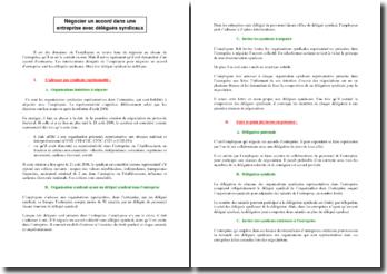 Négociation d'un accord d'entreprise avec des délégués syndicaux