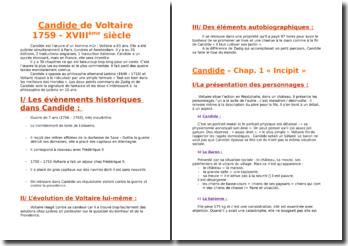 Voltaire, Candide, Chapitres 1, 2, 5, 18, 19 et 30 : commentaire