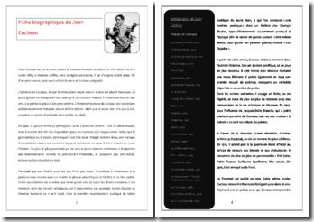 Fiche biographique de Jean Cocteau