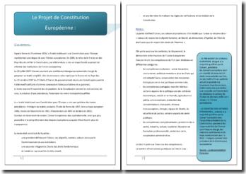 Le projet de Constitution européenne : enjeux, contenu et futur