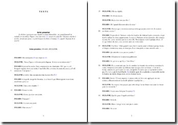 Beaumarchais, Le Mariage de Figaro, Acte I scène 1 : étude analytique