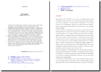Beaumarchais, Le Mariage de Figaro, Acte I scène 2 : étude analytique