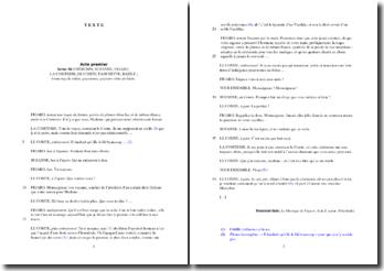 Beaumarchais, Le mariage de Figaro, Acte I Scène 10, Extrait : commentaire