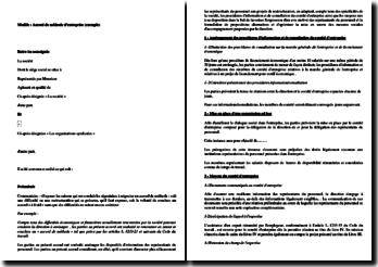 Exemple d'accord de méthode d'entreprise