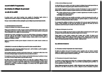 Exemple d'accord d'entreprise relatif à l'organisation des réunions des délégués du personnel