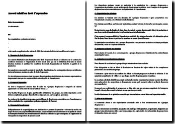 Exemple d'accord d'entreprise relatif au droit d'expression