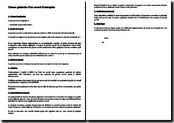 Clauses générales d'un accord d'entreprise