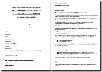 Modèle de lettre de saisine de la commission de recours à l'amiable auprès de l'URSSAF