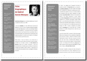 Fiche biographique de Gabriel Garcia Marquez