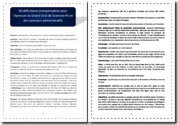 50 définitions pour réussir l'épreuve du Grand Oral de Sciences Po et des concours administratifs