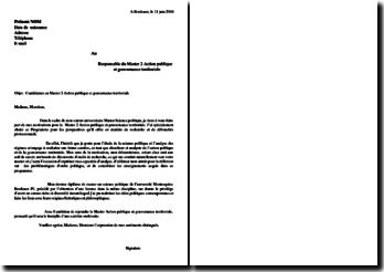 Lettre de motivation Master 2 Action publique et gouvernance territoriale