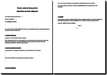 Exemple de procès verbal de désaccord de négociation annuelle obligatoire