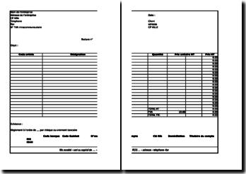 Modele de facture sur Excel