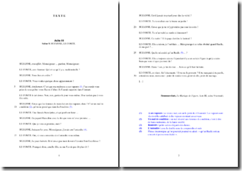 Beaumarchais, Le Mariage de Figaro, Acte III scène 9, Extrait : commentaire