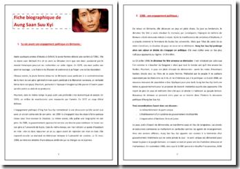 Fiche biographique de Aung San Suu Kyi