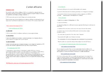 L'union africaine : création, principes, fonctionnement, etc.