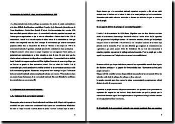 Commentaire de l'article 3 alinéa 1er de la Constitution de 1958