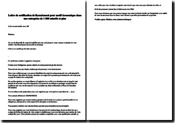 Lettre de notification de licenciement pour motif économique dans une entreprise de 1 000 salariés et plus