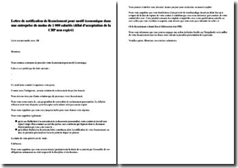 Lettre de notification de licenciement pour motif économique dans une entreprise de moins de 1 000 salariés (délai d'acceptation de la CRP non expiré)