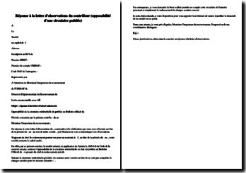 Réponse à la lettre d'observations du contrôleur (opposabilité d'une circulaire publiée)