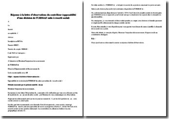 Réponse à la lettre d'observations du contrôleur (opposabilité d'une décision de l'URSSAF suite à rescrit social)