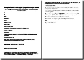Réponse à la lettre d'observations du contrôleur : chiffrage des charges sociales par l'entreprise