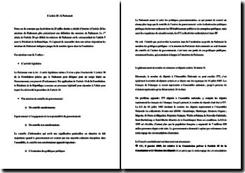 L'article 24 de la Constitution : le Parlement