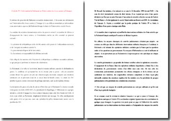 L'article 35 de la Constitution : l'information du Parlement sur l'intervention des forces armées à l'étranger