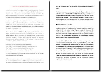 L'article 39 de la Constitution : l'avis du Conseil d'État sur les propositions de lois