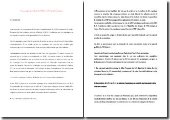 Les articles 46, 47, 47-1 et 47-2 de la Constitution