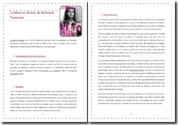 Bertrand Tavernier, La mort en direct : analyse