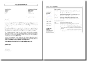 CV et lettre de motivation en anglais pour un poste de Sales Consultant