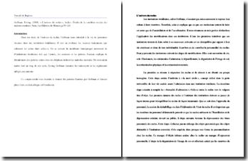 Erving Goffman, Asiles, L'univers du reclus : études sur la condition sociale des malades mentaux
