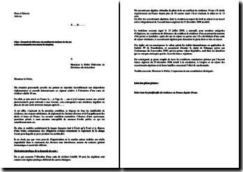 Lettre de demande de délivrance du certificat de résidence de dix ans pour ressortissant algérien