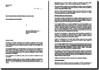 Demande de délivrance du certificat de résidence avec mention salarié