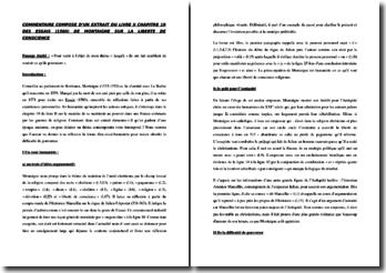 Montaigne, Essais, Livre II chapitre 19, Extrait : commentaire
