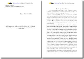 Commentaire sur le testament de Guillaume Chastillon (1473)