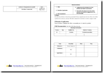 Descriptif de la procédure de gestion commerciale