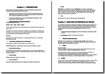 L'information et l'analyse du processus de travail