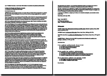 Commentaire sur la loi Waldeck Rousseau du 21 mars 1884 relative à la création de syndicats professionnels