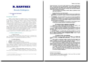Roland Barthes, Ecrivains, écrivants : synthése