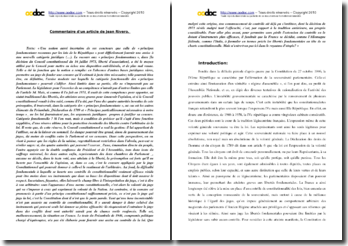 Jean Rivero, Les principes fondamentaux reconnus par les lois de la République : une nouvelle catégorie constitutionnelle ? : commentaire