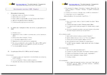 Questionnaire pour entretien en Ressources humaines