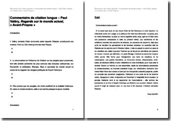 Paul Valéry, Regards sur le monde actuel, Avant-Propos : commentaire de texte