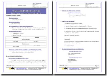Fiche de poste d'auxiliaire de puériculture (enfants de 0 à 6 ans)