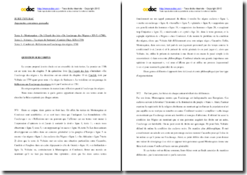 Question de corpus : argumenter, convaincre, persuader (Montesquieu, Voltaire, Condorcet)