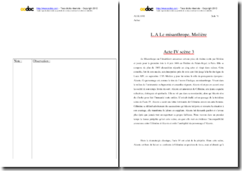 Moliére, Le Misanthrope, Acte IV scéne 3, Extrait : commentaire