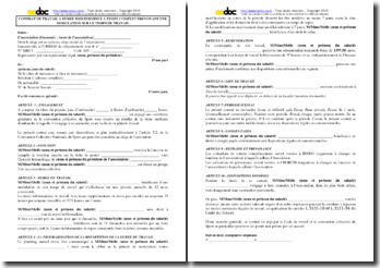 Modéle de contrat de travail à durée indéterminée (CDI) à temps plein en milieu associatif